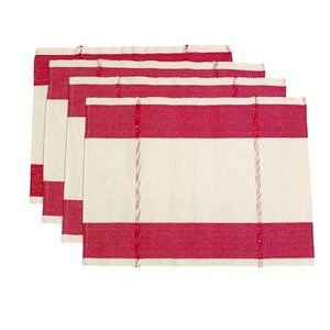 West Elm Pink Beige Linen Cotton Placemats Set 4